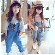 韓国子供服ファッション女の子サロペットパンツズボンフォーマル男の子デニムオーバーオールオーバーオールパンツカジュアルデニムロングパンツ