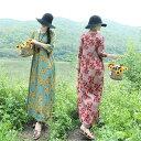 レディース 五分袖ワンピース 花柄 ボタニカル柄 麻綿ワンピース ロング丈夏 体型カバーシルエット 大きいサイズ きれいめお洒落