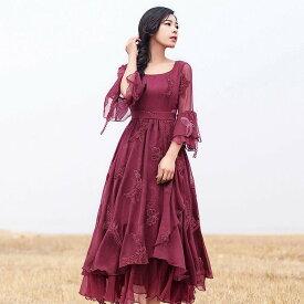レディース 7分袖 ワンピース ロング丈 蝶の刺繍 ワンピース ラッパの袖 お呼ばれドレス ワイン春秋ワンピース パーティー レッド ドレス 結婚式