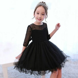 33c25b796b6d6 子供ドレス ピアノ発表会 黒い チュール ワンピース 5分袖 子どもドレス フォーマル 七五三 ジュニア