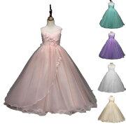 ドレス子供服子供ドレスロングピアノ発表会チュールワンピース子どもドレスフォーマル七五三ジュニアドレスピンク紫白シャンペングリーンドレス120cm-170cm