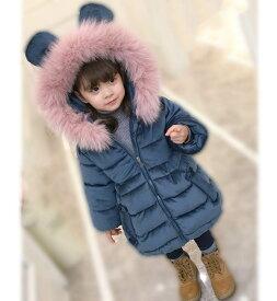 子供服 女の子 無地 中綿コート フード付き ジャケット キッズコート 冬着 子供コート キッズ服 女の子服 アウター 中綿 ロングコート 女の子コート