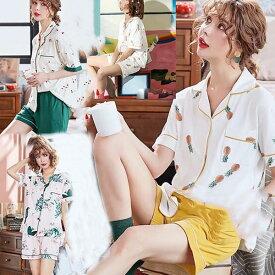 再入荷 パジャマ レディース 春夏 前開きパジャマ 半袖 上下セット パジャマ アイスクリーム柄 韓国風 レディースルームウエア 部屋着 シャツパジャマ 可愛い