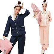 パジャマレディース春夏長袖パジャマ前開き上下セットサテンシャツパジャマ韓国風ロングズボンルームウエア部屋着可愛いシンプル冷房対応