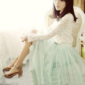 ロマンティックな妖艶スカート♪ふんわりAライン スカート チュール チュールスカート ひざ丈 ミモレ丈 チュールスカート ロング チュールスカート