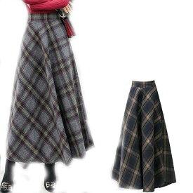スカート チェック柄 レディース ボトムス フレアスカート Aライン ロングスカート 秋 冬 ウール混スカート ロング丈 体型カバー おしゃれ 大きいサイズ 30代