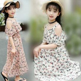 韓国 子供服 女の子 ワンピースドレス 子供ワンピース ワンピース マキシ丈 ロング 超可愛い キッズ 花柄 海へ おしゃれ シフォン マキシワンピース