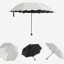 日傘 晴雨兼用 UVカット 折りたたみ傘 遮光 遮熱 完全遮光 折り畳み 傘 レディース ボーダー柄日傘 遮熱効果 UVカット 紫外線対策 男女兼用