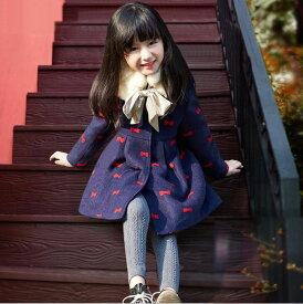 bd4bfd935acb4 子供コート ダッフルコート 女の子 アウター 秋冬ウールコート ファー付きコート リボン柄 子供服