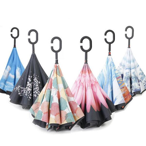 傘 逆さ傘 晴雨兼用 UVカット 遮光 自立 おしゃれ かわいい レディース メンズ 長傘 日傘 男女兼用 さかさま傘 逆さま傘 逆向き 逆さまの傘 折れない