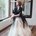 ロングドレス 演奏会 パーティードレス ドレス レディース 結婚式 ドレス ワンピース グラデーション Vネック マキシ丈 発表会 お呼ばれ 二次会 披露宴 上品