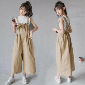 韓国 子供服 セットアップ 女の子 上下 サロベット ベスト おしゃれ 子ども服 8分丈 カジュアル ジュニア 120 130 140 150 160 165