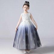 子供ドレスロングピアノ発表会レースチュールワンピース子どもドレスフォーマル七五三ジュニアドレスレッド紫白シャンペンピンクグリーンドレス