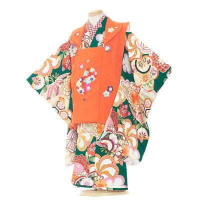 3231緑地×オレンジ/ねじり梅古典柄
