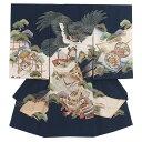 【レンタル】お宮参り 男の子 / 124紺/鷹と鶴 / レンタル 帽子 よだれかけ 着物 お宮参り着物 男児 祝い着 男 のしめ …
