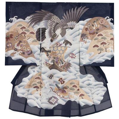 73(正絹)紺地/鷹と波