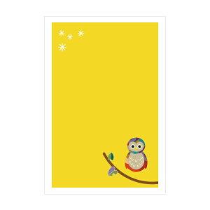 福ろう(梟・フクロウ)【ポストカード】3枚セット/おしゃれでかわいい京都かみんぐ限定ポストカードアート