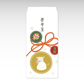 【2021年お年玉袋】丸紋牛(大)/3枚【和紙製ポチ袋】