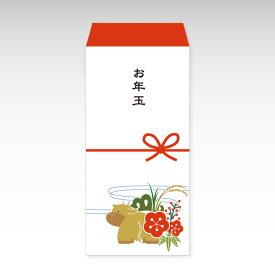 【2021年お年玉袋】牛と松竹梅(大)/3枚【和紙製ポチ袋】