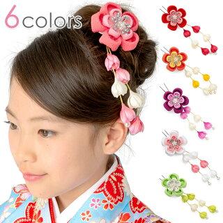 髪飾りちりめんかんざし桜