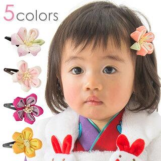 髪飾りパッチン留めちりめんつまみ細工ミニプラムあんずももピンクオレンジスリーピンパッチンピンヘアアクセサリー