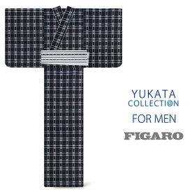 ブランド メンズ浴衣 綿麻素材【FIGARO】メンズ浴衣 男性【黒 ブラック系】【Lサイズ】格子柄