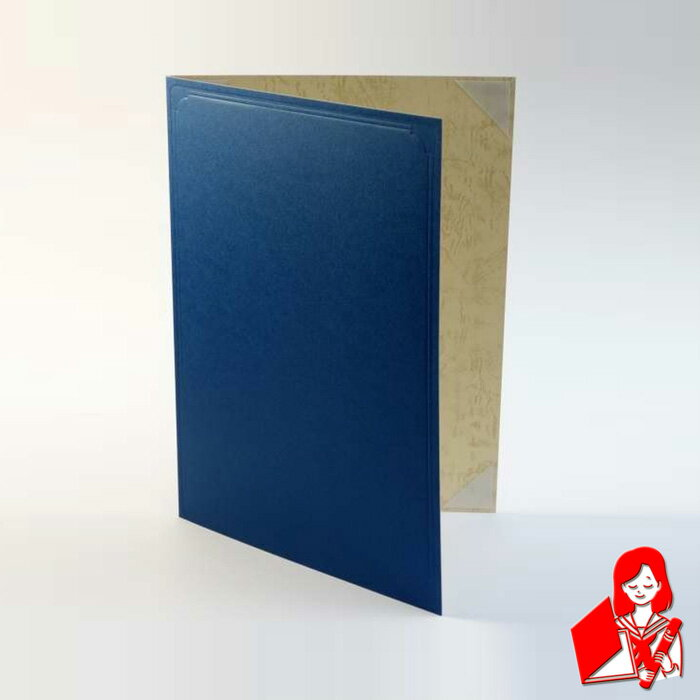 【紙表紙】 1枚収納用 青色 証書ファイル 賞状ファイル 証書ホルダー 結婚証明書入れ A4用orB5用※サイズをご選択下さい【ケース フォルダー バインダー 賞状入れ】