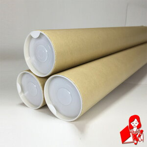 B1用ポスター筒 プラスチックキャップ付き 3本セット 内径76.5mm×740mm 肉厚1,5mm【紙筒 紙管 ケース 梱包資材 発送 カレンダー】