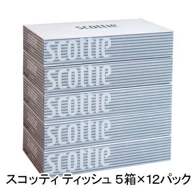 送料無料 スコッティ (scottie) ティッシュペーパー 200組 5箱×12パック ティッシュ ケース まとめ買い 00115
