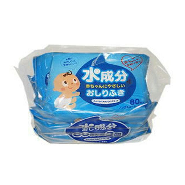 ●代引き不可 送料無料 昭和紙工 水成分赤ちゃんにやさしいおしりふき80枚 3個パック×12個入 40255
