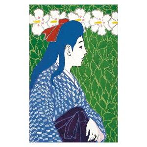 【DM便可】 コロタイプ絵はがき〈季趣五題 はるかおる 花と横向きの少女〉橋口五葉 BC-060