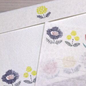 古川紙工美濃和紙を使った和み文具・冬限定今日のお手紙レターセット・刺繍の花畑