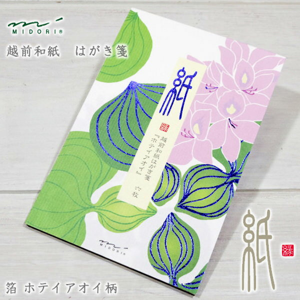MIDORI【ミドリ】四季を楽しむ「紙」シリーズはがき箋・箔ホテイアオイ柄