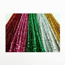 ラメモール6mm【単色5本入り】【モール】【カラー:桃/水/黄/緑】【工作・飾り・造形材料】