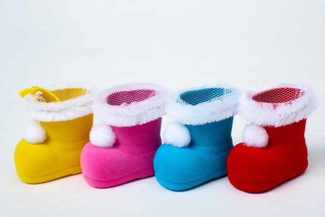 クリスマスブーツ 【ミニミニブーツ】【カラー4色/レッド/ブルー/ピンク/イエロー】ミニサイズのクリスマスブーツネット付きなので、お菓子や小物を入れてプレゼントに!!※容器のみの販売です。