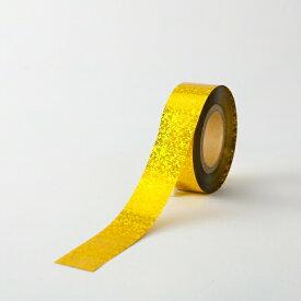 ホログラムテープ【カラー:金】【テープ】【25mm幅×100m】ポンポン製作の他、パーティー会場などの飾りつけ、コンサートやライブに!!