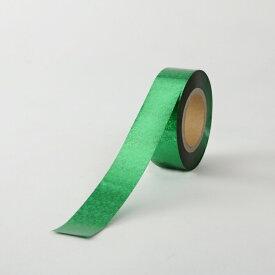 ホログラムテープ【カラー:緑】【テープ】【25mm幅×100m】ポンポン製作の他、パーティー会場などの飾りつけ、コンサートやライブに!!