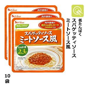 やさしくラクケア スパゲッティソースミートソース風 10袋(100g×10) 低タンパク 低たんぱく たんぱく調整 低たんぱくミート 減塩 腎臓病食 ソース 調味料 パスタ スパゲッティ 乾麺 レトル