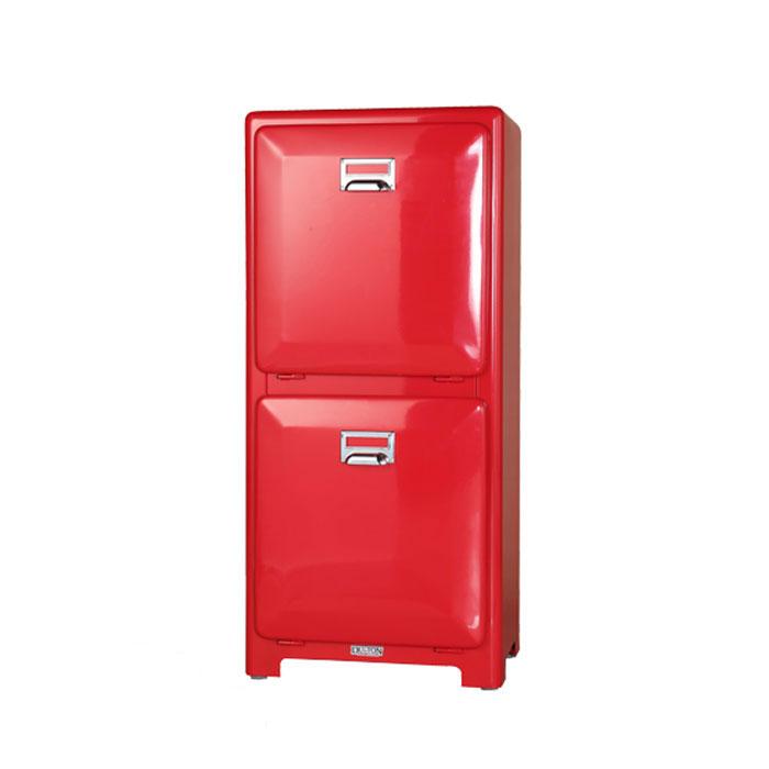ダルトン トラッシュカン ダブルデッカー レッド 分別 ゴミ箱 ダストボックス インナーボックス おしゃれ シンプル キッチン 【 DULTON TRASH CAN DOUBLE DECKER RED 100-133RD 】