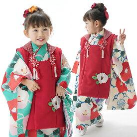 七五三 着物 3歳 販売 三歳 女の子 「 椿(つばき) 」 レトロ 古典 可愛い オシャレ 子供 753 キッズ きもの フルセット 購入 京都