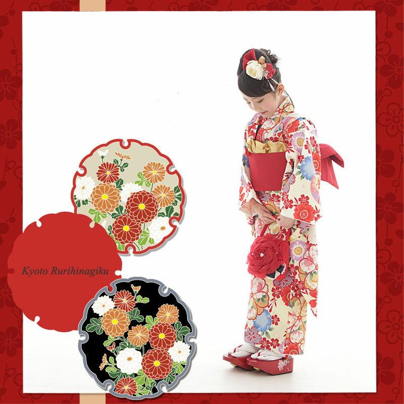 七五三 着物 四ツ身 7歳用 レトロ 古典 お祝い着 『小町』 (四つ身着物、重ね衿、長襦袢、作り帯、髪飾り、帯板、お花のバッグ、足袋、こっぽり)