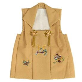七五三着物男の子 被布単品 金茶ベージュ色 兜刺繍 金コマ刺繍 日本製