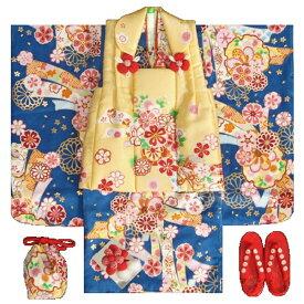 七五三 着物 3歳 正絹 女の子被布セット 青色着物 牡丹菊 被布黄色 金彩使い 足袋付きフルセット
