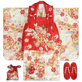 七五三 着物 3歳 正絹 女の子被布セット 白色 雪輪 熨斗 被布赤地 金彩使い 足袋付きフルセット