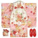 七五三 着物 3歳 正絹 女の子被布セット ピンク色 雪輪 熨斗 被布白地 金彩使い 足袋付きフルセット