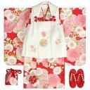 七五三着物 3歳 女の子被布セット 京都花ひめ 赤地着物 被布白刺繍使い 桜 まり 足袋付き11点フルセット