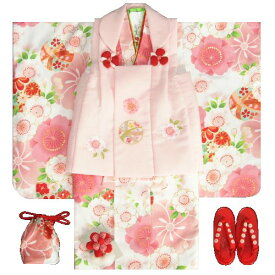 七五三 着物 3歳 女の子 被布セット 京都花ひめ 白地着物 被布ピンク刺繍使い 桜 まり 二段重ね衿 足袋付き11点フルセット