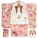 七五三 着物 3歳 女の子被布セット 天使ブランド ピンク 乱菊 金彩使い 被布桜刺繍白色 雛祭り 正月 足袋付セット 日本製