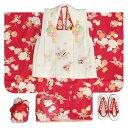 七五三 着物 三歳 女の子 被布セット リョウコキクチ 赤 桜 被布ベージュ刺繍使い 雛祭り 753 足袋に腰紐付きの12点セット