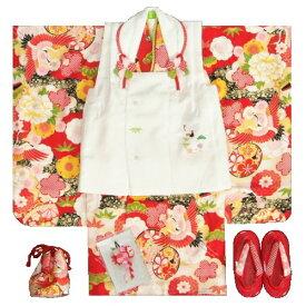 七五三着物 正絹 3歳女の子被布セット 京都花ひめブランド 赤色 飛翔鶴 被布白 刺繍使い 足袋付セット 753 日本製